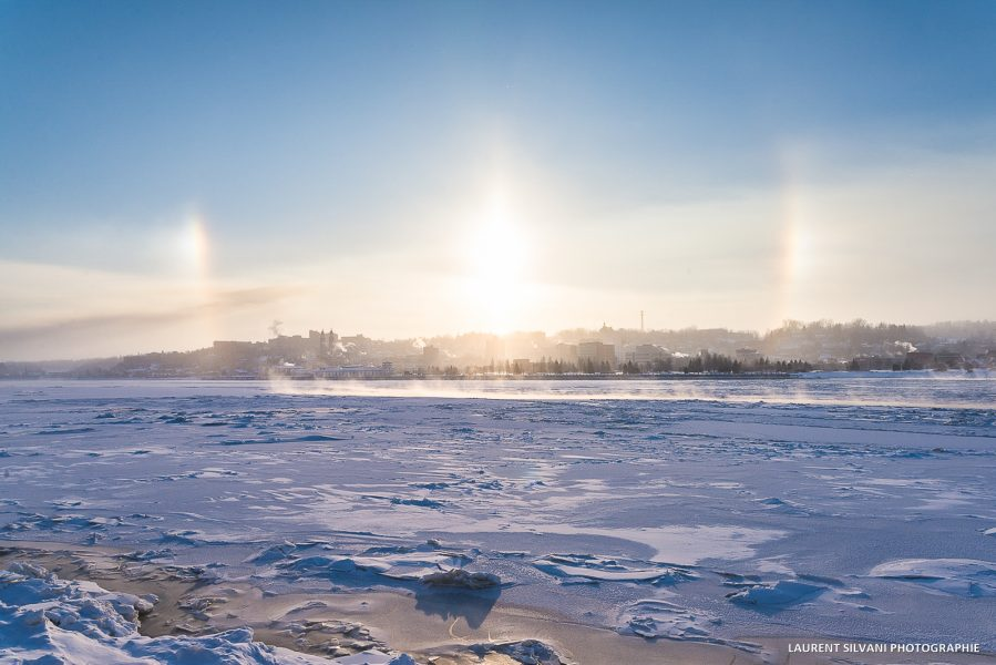 Paysage de la ville de Chicoutimi en hiver